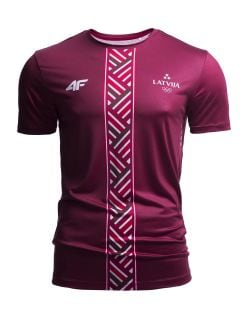 Men's active T-shirt Latvia PeyeongChang 2018 TSMF800 - burgundy