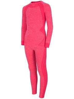 Seamless underwear (top + bottom) for older children (girls) JBIDB401 - coral pink melange