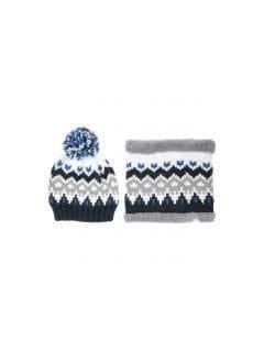 Hat + scarf for older children (boys) JGIFTSM214 - multicolor
