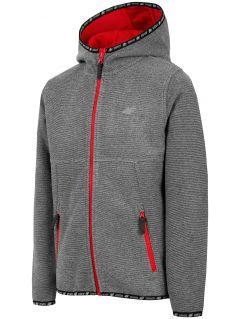 Fleece hoodie for younger children (boys) JPLM300 - grey melange