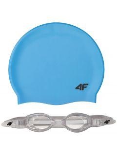 Swimming cap + goggles for older children (boys) JSETM401 -  blue