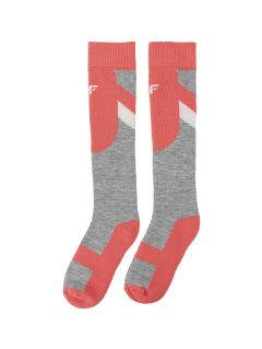 Ski socks for older children (girls) JSODN400 - coral pink neon