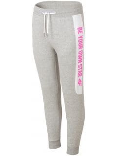Sweatpants for older children (girls) JSPDD208 - light grey melange