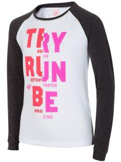 Long sleeve T-shirt for older children (girls) JTSDL208 - dark grey melange