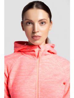 Women's fleece hoodie PLD302 - salmon pink melange