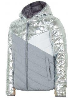 Down jacket for older children (girls) JKUDP202 - silver