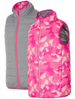 Down vest for small girls JKUDB101 - pink