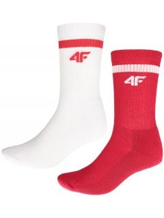 UNISEX SPORTS FAN SOCKS (2 PAIRS) SOU500 - WHITE + RED