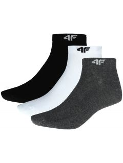 Men's socks (3 pairs) SOM301 - black + white + medium grey melange