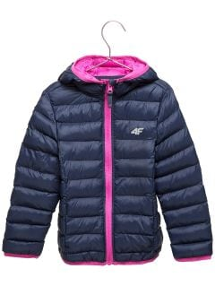 Down jacket for younger children (girls) JKUDP106 - navy