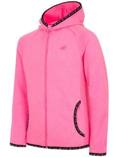 Fleece hoodie for older children (girls) JPLD400 - fuchsia