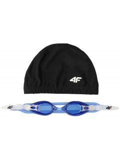 Swimming cap + goggles for older children (boys) JSETM400 - navy