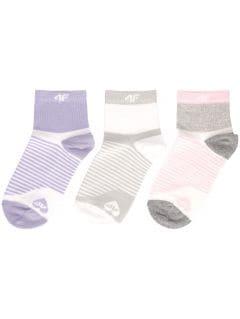 Socks (3 pairs) for younger children (girls) JSOD400 - white + grey melange + light violet