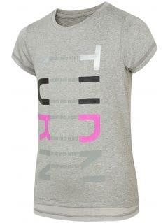 Active T-shirt for older children (girls) JTSD401 - light grey melange