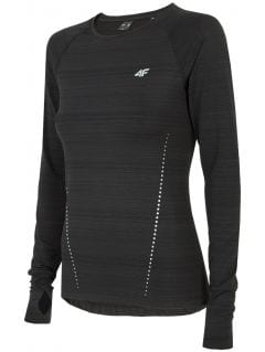 Women's active long sleeve T-shirt TSDLF300 - deep black melange