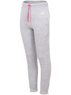 Sweatpants for older children (girls) JSPDD201 - light grey melange