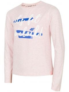 Long sleeve T-shirt for older children (girls) JTSDL202B - light pink melange