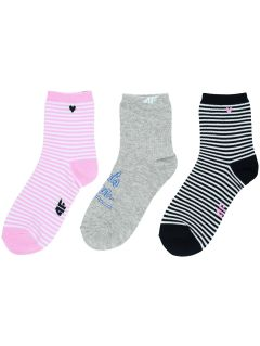 Socks (3 pairs) for older girls JSOD200 - light pink + light grey melange + navy