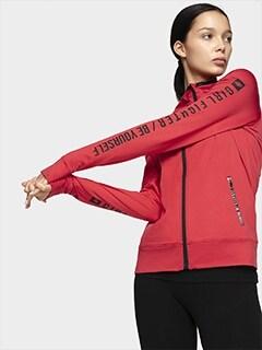 1cc626f19cc4d9 Bluzy damskie rozpinane - sportowe, treningowe - 4F | Colors: Red